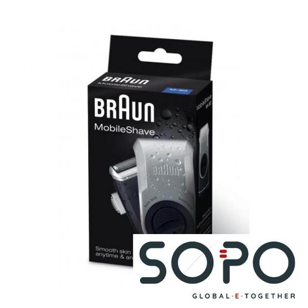 Braun MobileShave PocketGo M90 Blau, Silber Herrenrasierapparat